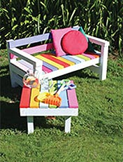 Build a child's colourful garden bench