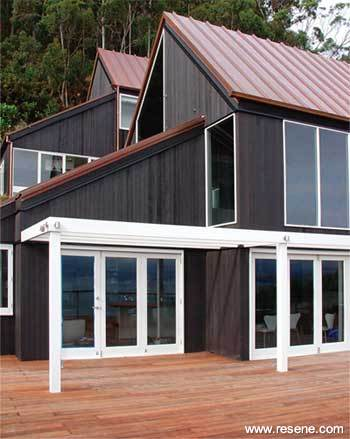 Exterior timber stained in Resene Waterborne Woodsman CoolColour