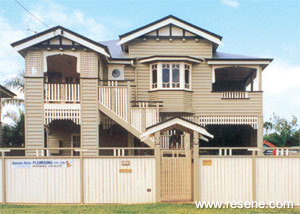 Resene products in action queenslander style home in kedron for Queenslander exterior colour schemes