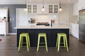 A splash of colour will really open up your kitchen, especially if it emulates the shades found outside.