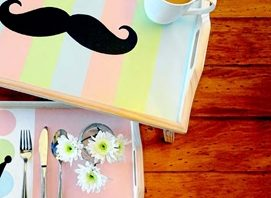 Breakfast in bed can be all the more sweet with a DIY painted tray.