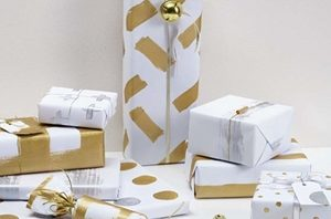 Make your own wrapping paper like this, created using Resene Gold metallics.