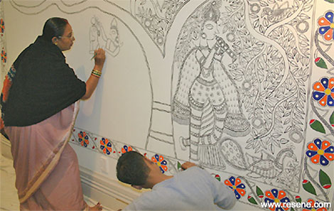 Shanti Devi working on the original painting