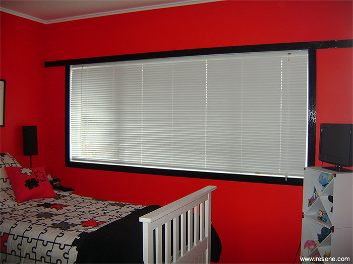 Girl S Bedroom With Red Walls White Furniture And Black