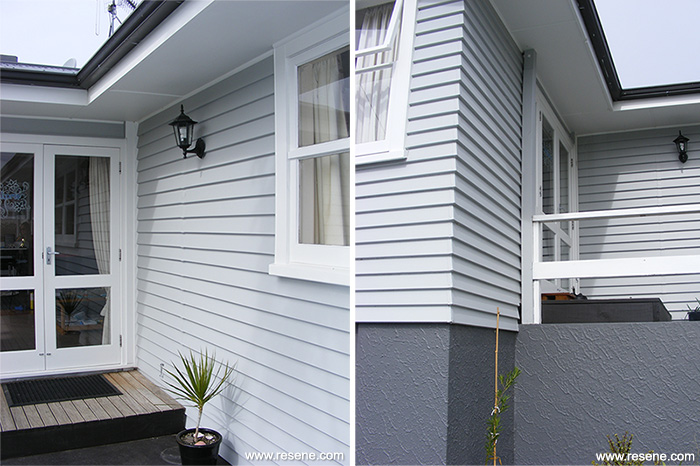 House Has A Colour Update With Resene Silver Chalice Weatherboards