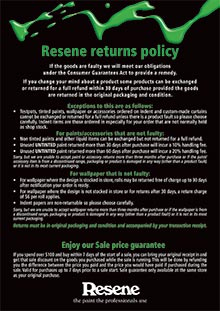 Resene returns policy