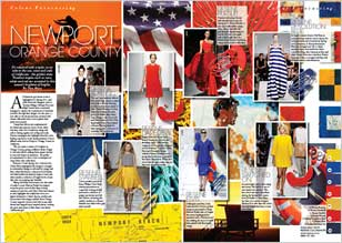 Nautical staples such as navy, white and red are accented by this season's brightest of brights.
