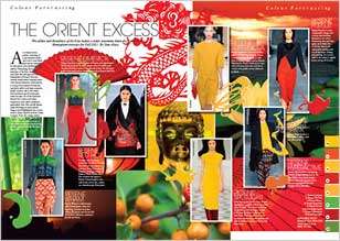 An oriental colour palette consisting of a pre-requisite scarlet red is set to turn heads next season, enhanced by jade greens and mandarin tinged yellows