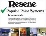 Popular Resene paint systems for Interior walls brochure