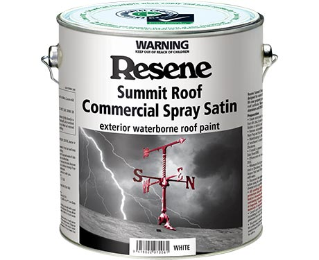 Resene Summit Roof Commercial Spray Satin exterior waterborne roof paint